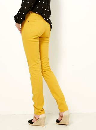 Hořčicové slim fit kalhoty CAMAIEU