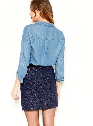 Tmavě modrá třpytivá sukně CAMAIEU