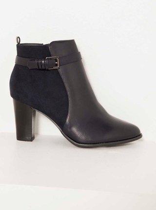 Černé kotníkové boty s ozdobným páskem CAMAIEU