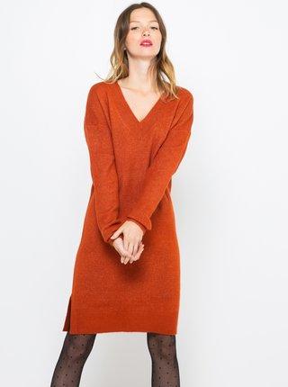 Tehlové svetrové šaty CAMAIEU
