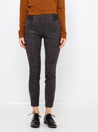 Šedé zkrácené kalhoty s leopardím vzorem CAMAIEU