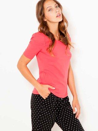 Růžové tričko s nařasenými rukávy CAMAIEU