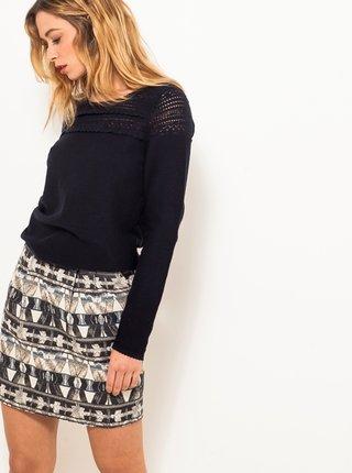 Šedá vzorovaná sukňa s prímesou vlny CAMAIEU