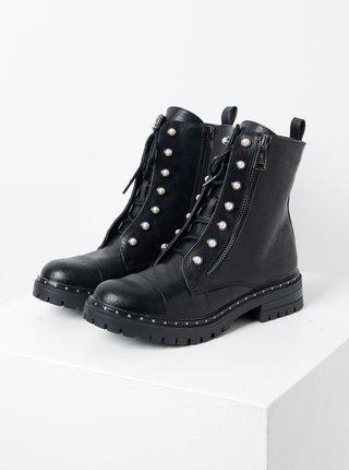 Čierne členkové topánky s ozdobnými detailmi CAMAIEU