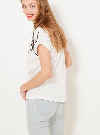 Bílé tričko s výšivkou CAMAIEU