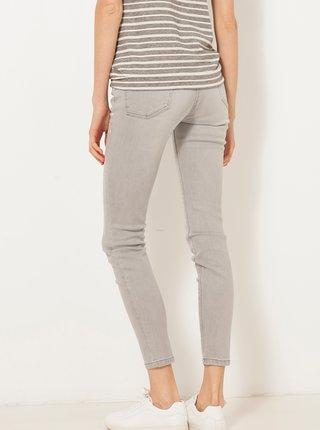 Světle šedé zkrácené skinny fit džíny s ozdobnými detaily