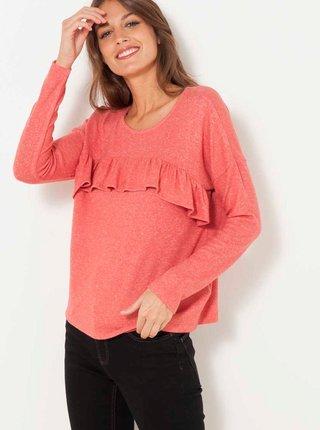 Růžové tričko s volánem CAMAIEU
