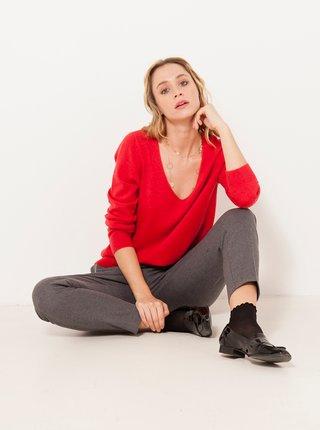 Červený vlnený sveter s prímesou kašmíru CAMAIEU