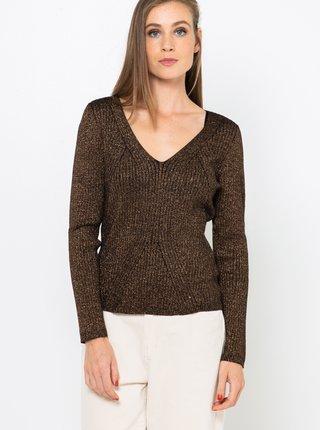 Tmavohnedý sveter CAMAIEU