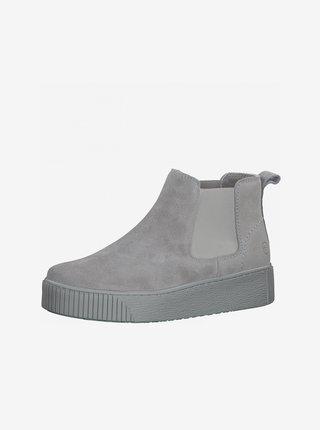 Světle šedé semišové chelsea boty na platformě Tamaris