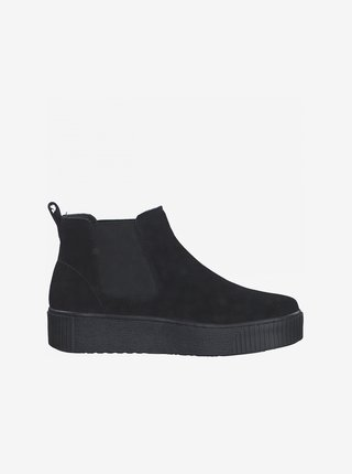 Čierne semišové chelsea topánky na platforme Tamaris