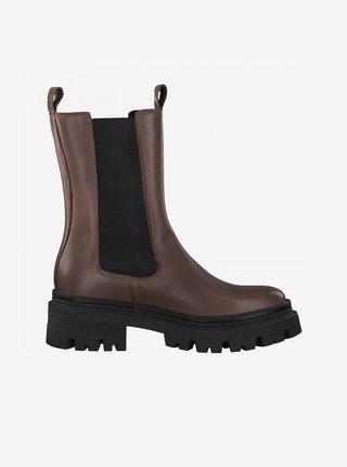 Hnědé dámské kožené kotníkové boty na platformě Tamaris