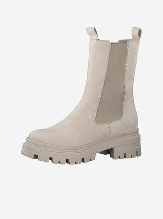 Krémové dámské semišové kotníkové boty na platformě Tamaris