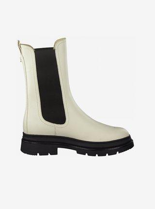 Krémové kotníkové boty na platformě Tamaris