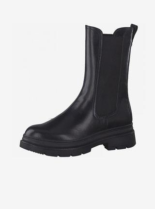 Černé kotníkové boty na platformě Tamaris