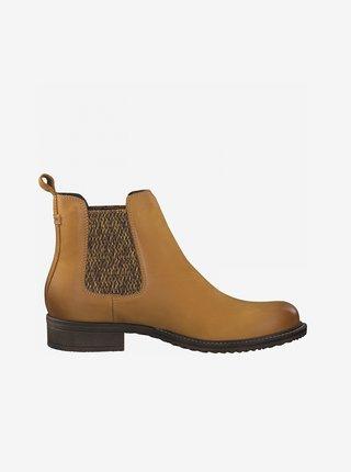 Hořčicové kožené chelsea boty Tamaris