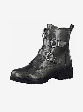 Tmavošedé členkové topánky s prackami Tamaris