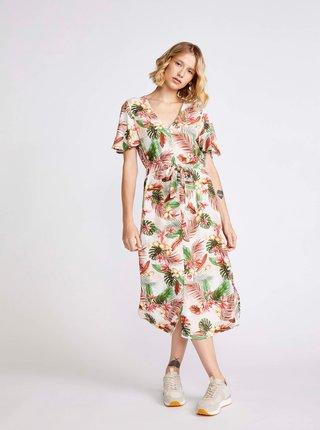 Krémové květované šaty VERO MODA Simply