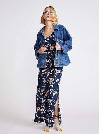 Tmavě modré květované maxišaty VERO MODA Easy