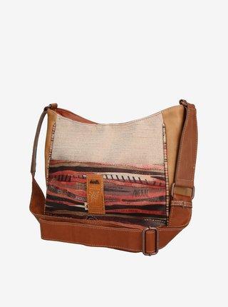 Hnědo-béžová dámská vzorovaná crossbody kabelka Anekke Kenya