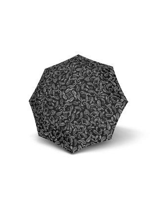 Doppler Mini Fiber Black & White dámský skládací deštník - Černá a bílá