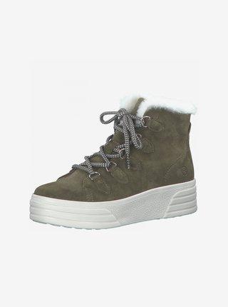 Khaki semišové zimní boty  Tamaris