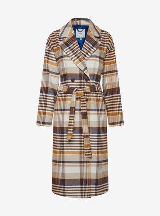 Hnedo-béžový dámsky kockovaný kabát so zaväzovaním ICHI