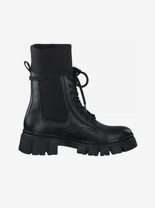 Černé kožené kotníkové boty na platforměTamaris