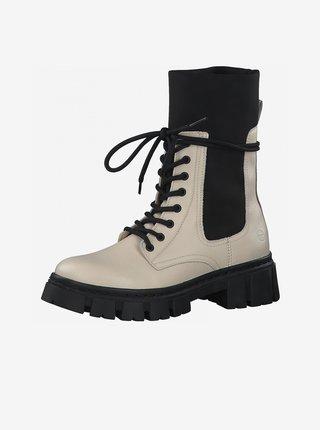 Krémové kožené kotníkové boty na platformě Tamaris