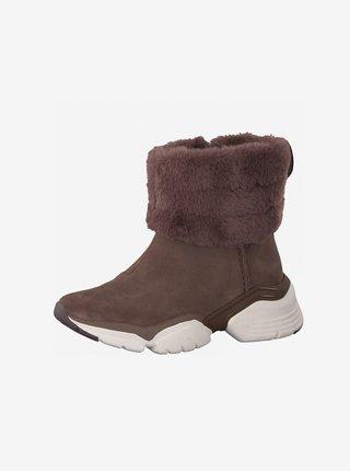Vínové semišové zimní boty Tamaris