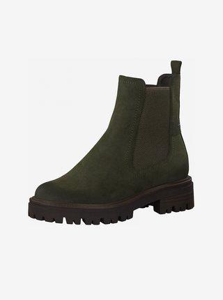 Khaki kotníkové boty v semišové úpravě Tamaris