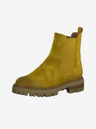 Žluté kotníkové boty v semišové úpravě Tamaris