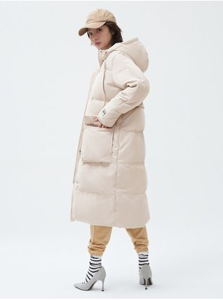 Béžový dámský kabát Zateplený