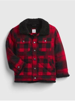Červená klučičí bunda buff pleed jacket