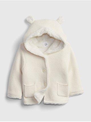 Bílý holčičí kabátek s kožíškem