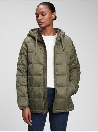 Zelená dámská bunda Prošívaná s kapucí