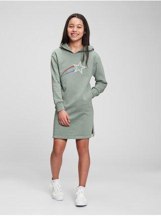 Zelené holčičí šaty šaty sweatshirt dress