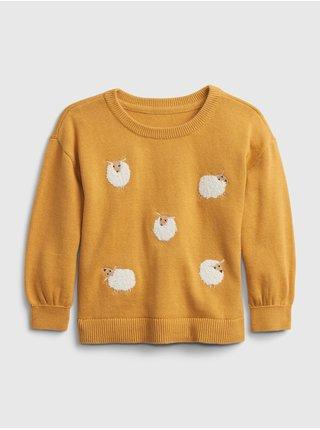 Žlutý holčičí svetr s ovečkami