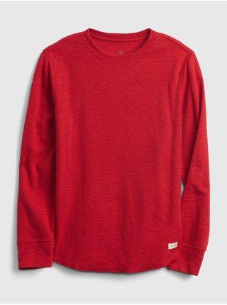 Červené klučičí tričko long sleeve texture crew