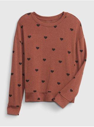 Hnědé holčičí tričko snit cross back top