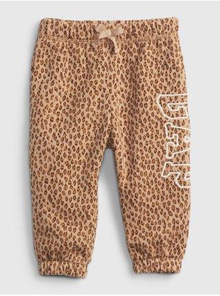 Béžové holčičí tepláky leopard GAP