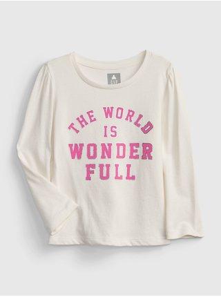 Smetanové holčičí tričko long sleeve graphic t-shirt