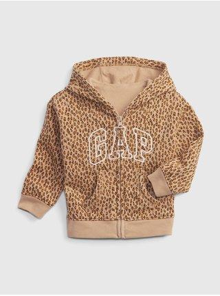 Béžová holčičí mikina GAP Logo leopard