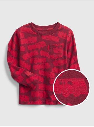 Červené klučičí tričko s autíčky
