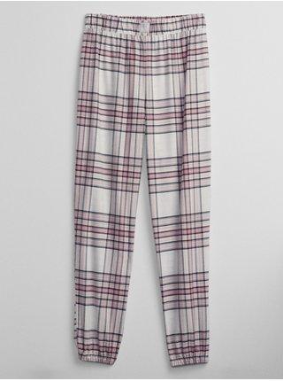 Smetanové dámské pyžamové kalhoty flannel joggers