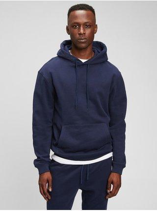 Modrá pánská mikina fleece pocket hoodie