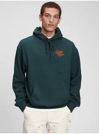 Zelená pánská mikina GAP Logo New York original pocket hoodie