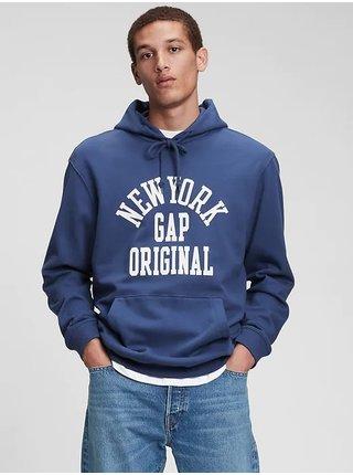 Modrá pánská mikina GAP Logo New York original hoodie