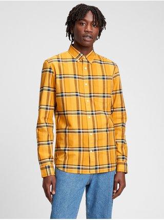Žlutá pánská košile Kostovaná Slim Fit