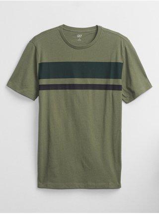 Zelené pánské tričko crew chest stripe t-shirt